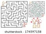 cute bunny's maze game  help... | Shutterstock .eps vector #174597158