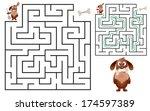 cute dog's maze game  help dog... | Shutterstock .eps vector #174597389