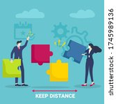 keep distancing. business and... | Shutterstock .eps vector #1745989136
