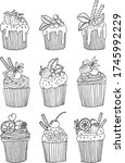 cupcakes collection on white...   Shutterstock .eps vector #1745992229