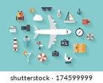 flat design style modern vector ... | Shutterstock .eps vector #174599999