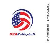 usa volleyball icon vector logo.   Shutterstock .eps vector #1746003359