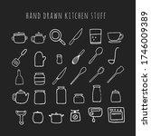 vector hand drawn kitchen stuff.... | Shutterstock .eps vector #1746009389