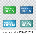 set of come in we're open door...   Shutterstock .eps vector #1746009899
