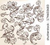 vector set of swirl elements... | Shutterstock .eps vector #174603683