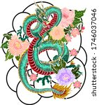 hand drawn dragon tattoo... | Shutterstock .eps vector #1746037046