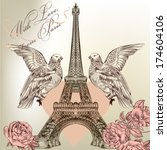 vintage vector card with eiffel ...