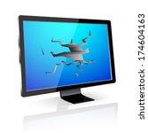 lcd tv monitor  with broken... | Shutterstock .eps vector #174604163