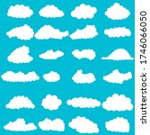 vector set of clouds flat style | Shutterstock .eps vector #1746066050