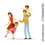 family playing. happy children... | Shutterstock .eps vector #1746066650