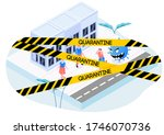 angry virus running after... | Shutterstock .eps vector #1746070736