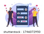 chat lovers. people chatting...   Shutterstock .eps vector #1746072950