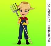 emoji with smirking boy farmer... | Shutterstock .eps vector #1746082490