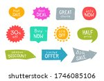 grunge sale stickers set.... | Shutterstock .eps vector #1746085106