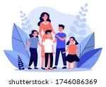happy mother walking with... | Shutterstock .eps vector #1746086369