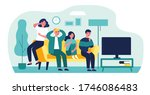 group of friends watching scary ... | Shutterstock .eps vector #1746086483