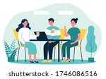 happy young people drinking... | Shutterstock .eps vector #1746086516