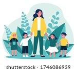 kindergarten teacher walking... | Shutterstock .eps vector #1746086939