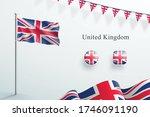 uk flag 3d elements waving... | Shutterstock .eps vector #1746091190