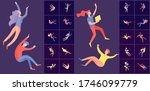 inspired people flying in space ... | Shutterstock .eps vector #1746099779