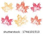 leaf imprints. leaves set... | Shutterstock .eps vector #1746101513