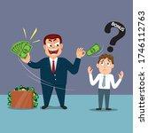boss with poor man giving money ... | Shutterstock .eps vector #1746112763