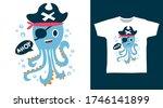 Cute Octopus Pirate Ahoy Design ...
