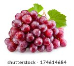 Ripe Red Grapes Leaves Isolated - Fine Art prints