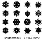 black silhouettes of snowflakes ... | Shutterstock .eps vector #174617090
