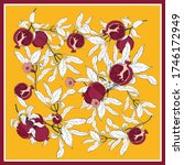 silk scarf with pomegranate... | Shutterstock .eps vector #1746172949