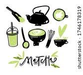 matcha green tea hand drawn...   Shutterstock .eps vector #1746178319