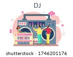 dj concept. person standing at... | Shutterstock .eps vector #1746201176