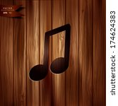 music note icon. wooden...   Shutterstock .eps vector #174624383