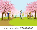 cherry blossom viewing on park | Shutterstock .eps vector #174626168