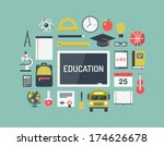 Modern flat icons vector collection concept of high school object and college education items with teaching and learning symbol, and studying and educational elements. Isolated on stylish background.