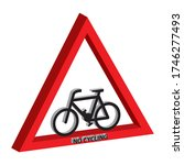 triffic sign board no cycling... | Shutterstock .eps vector #1746277493