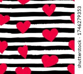 brush drawn pink hearts and...   Shutterstock .eps vector #1746279353