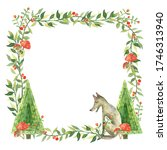 Watercolor Frame With Forest...