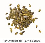 Pile Of Pumpkin Seeds Isolated...