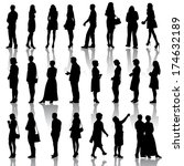 black silhouettes of beautiful... | Shutterstock .eps vector #174632189