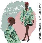 bright summer dress in green... | Shutterstock .eps vector #1746366590