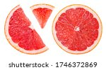 Grapefruit slice isolated. pink ...
