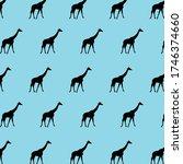 black color giraffe patterns on ... | Shutterstock .eps vector #1746374660