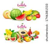 exotic fruits on white... | Shutterstock .eps vector #1746381533