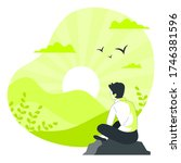 the guy is sitting in nature... | Shutterstock .eps vector #1746381596