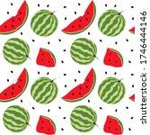 watermelon seamless pattern.... | Shutterstock .eps vector #1746444146