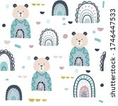 bear and rainbows hand drawn... | Shutterstock .eps vector #1746447533