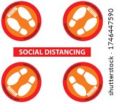 social distancing for 4 people... | Shutterstock .eps vector #1746447590