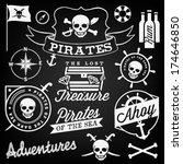 collection of pirate design... | Shutterstock .eps vector #174646850