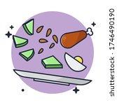 Food Flying In Plate Vector...